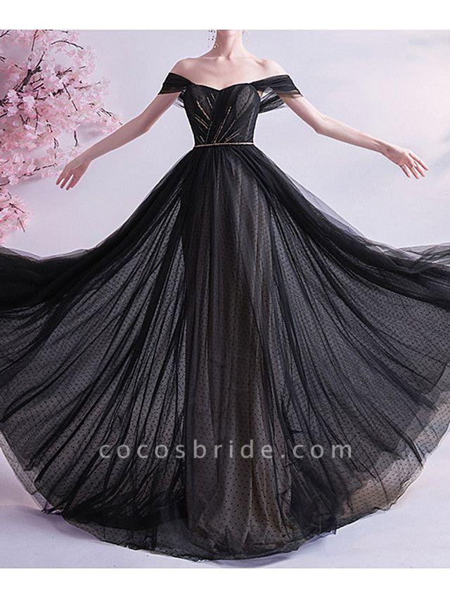 A-Line Wedding Dresses Off Shoulder Sweep \ Brush Train Tulle Cap Sleeve Formal Black Modern