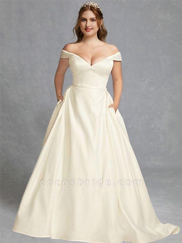A-Line Wedding Dresses Off Shoulder Floor Length Charmeuse Regular Straps Formal Plus Size Elegant