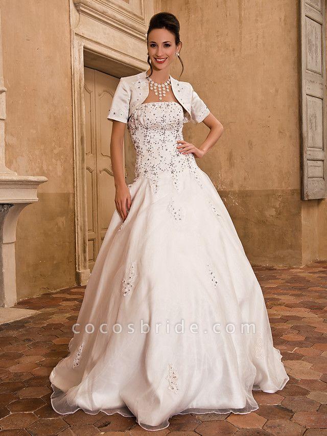 Ball Gown Wedding Dresses Strapless Floor Length Satin Short Sleeve Sparkle & Shine
