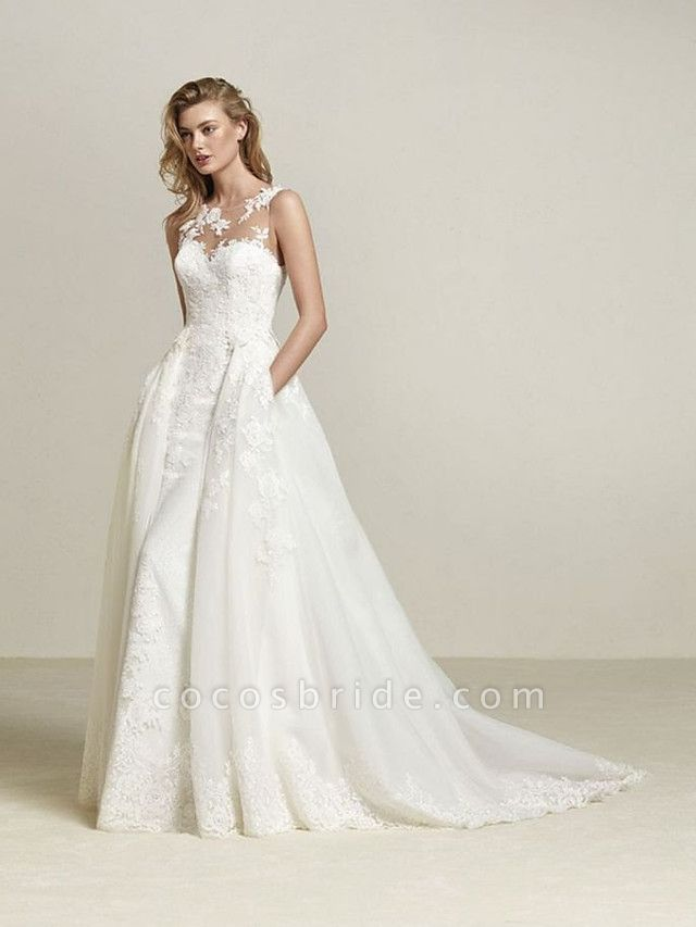 A-Line Wedding Dresses Scoop Neck Court Train Lace Tulle Lace Over Satin Regular Straps Romantic See-Through