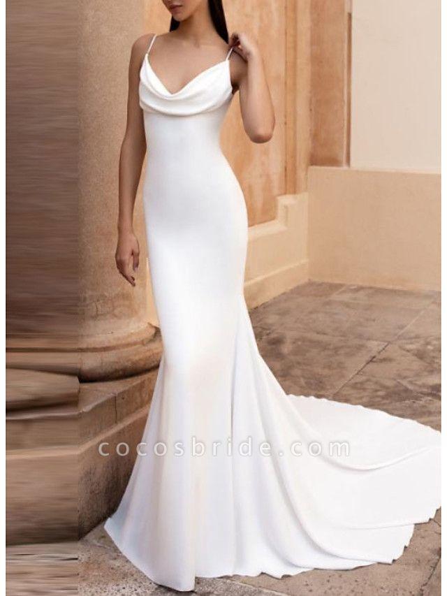 Mermaid \ Trumpet Wedding Dresses V Neck Court Train Satin Spaghetti Strap Plus Size Elegant