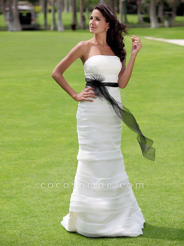 Mermaid \ Trumpet Wedding Dresses Strapless Floor Length Organza Satin Sleeveless Wedding Dress in Color