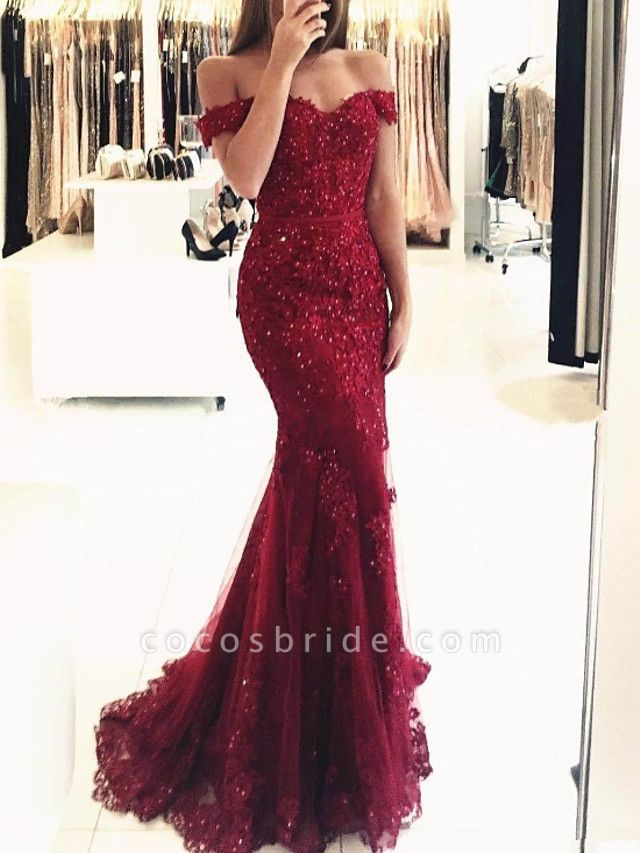 Mermaid \ Trumpet Sparkle Red Prom Formal Evening Dress Off Shoulder Short Sleeve Sweep \ Brush Train Lace