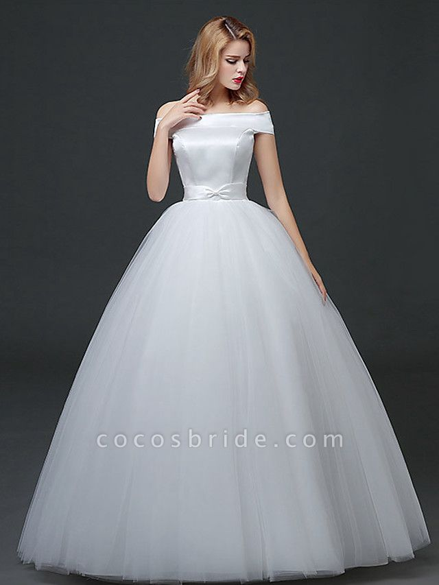 Ball Gown Wedding Dresses Off Shoulder Floor Length Lace Tulle Polyester Cap Sleeve Formal