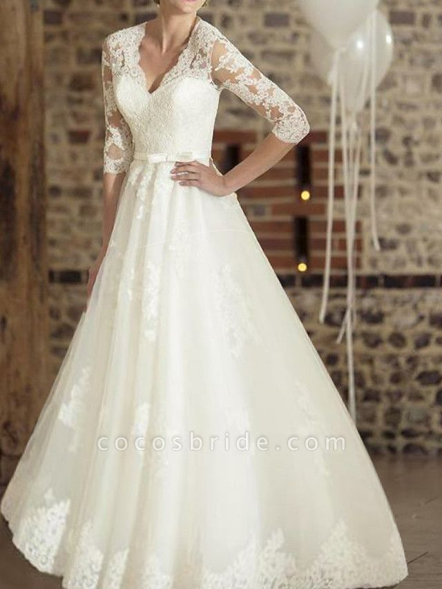 A-Line Wedding Dresses V Neck Floor Length Lace Tulle Half Sleeve Country Plus Size