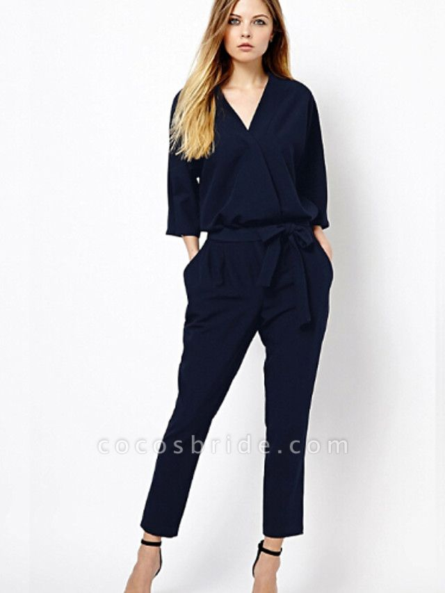 Women's Work Simple Jumpsuit - Solid Colored