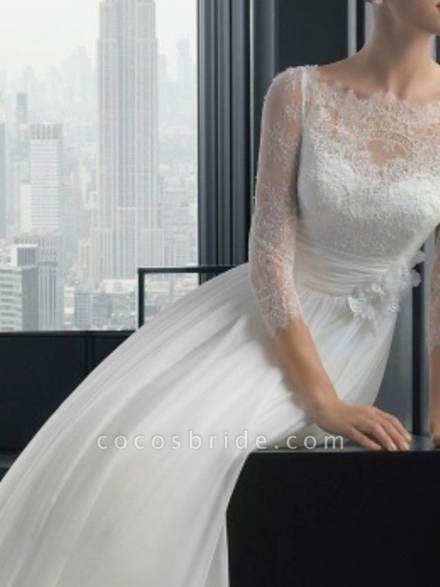 A-Line Wedding Dresses Off Shoulder Sweep \ Brush Train Lace 3\4 Length Sleeve Beach Illusion Sleeve