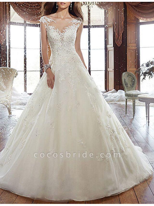 A-Line Wedding Dresses V Neck Court Train Tulle Regular Straps Formal Plus Size