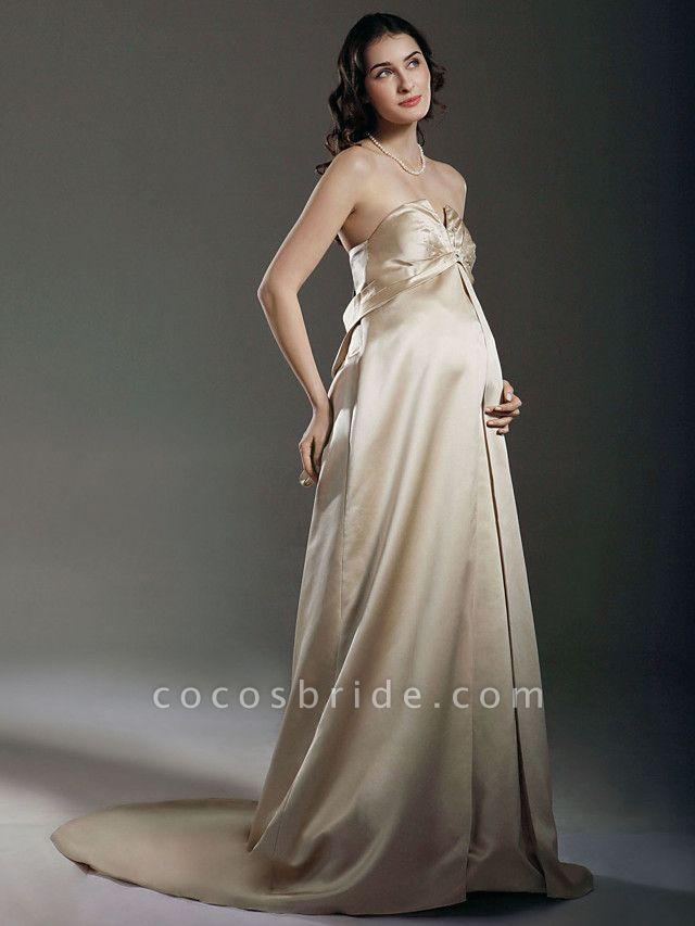 Sheath \ Column Wedding Dresses Strapless Sweetheart Neckline Court Train Satin Sleeveless