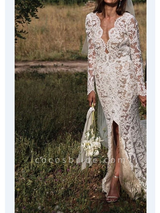 A-Line V Neck Sweep \ Brush Train Lace Long Sleeve Sexy Plus Size Wedding Dresses