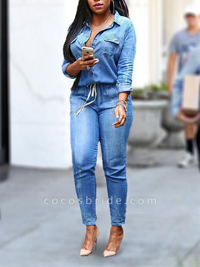 Women's Plus Size Daily Shirt Collar Light Blue Pencil Jumpsuit