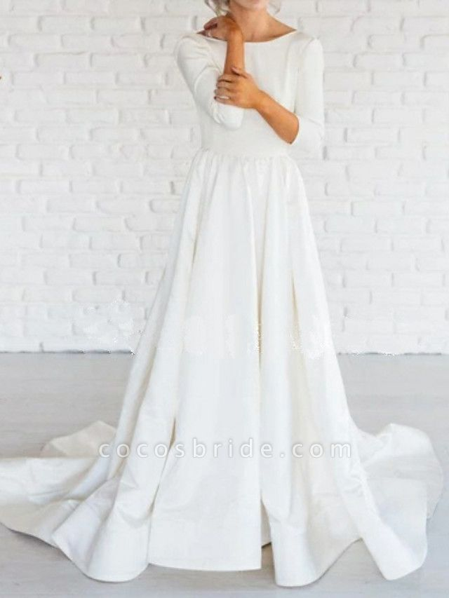 A-Line Wedding Dresses Bateau Neck Sweep \ Brush Train Satin 3\4 Length Sleeve Simple Backless