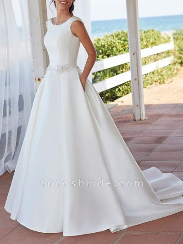 A-Line Wedding Dresses Jewel Neck Sweep \ Brush Train Satin Sleeveless Simple