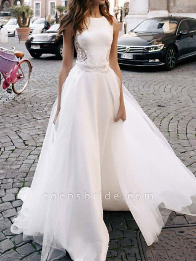 A-Line Wedding Dresses Jewel Neck Sweep \ Brush Train Lace Tulle Regular Straps Casual Beach Backless