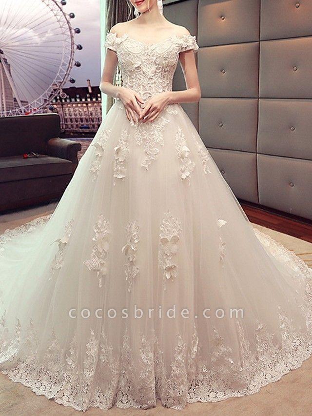 A-Line Wedding Dresses Off Shoulder Sweep \ Brush Train Lace Short Sleeve Beach