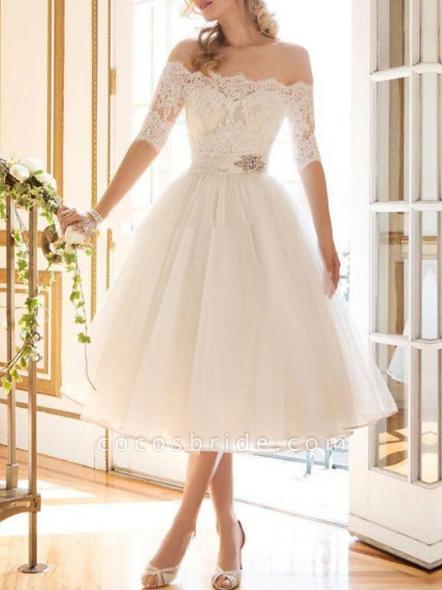 A-Line Wedding Dresses Off Shoulder Tea Length Lace Tulle Half Sleeve Vintage Sexy Wedding Dress in Color Backless