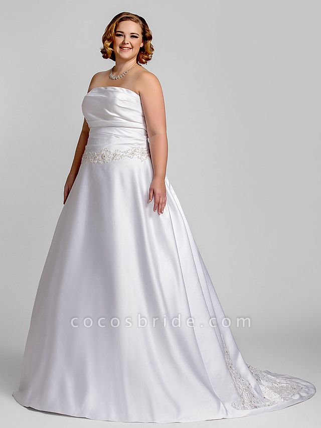 A-Line Wedding Dresses Strapless Court Train Satin Strapless Romantic Illusion Detail