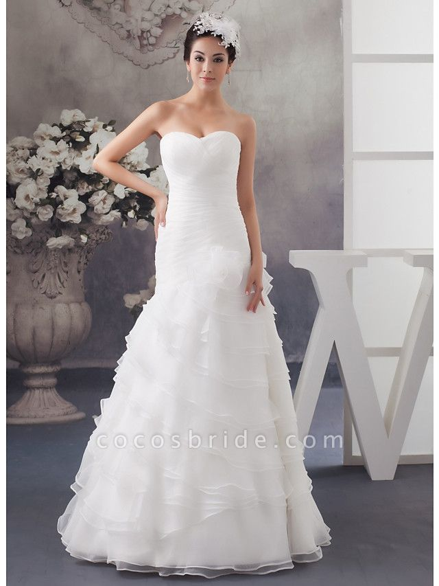 A-Line Sweetheart Neckline Floor Length Organza Satin Strapless Wedding Dresses