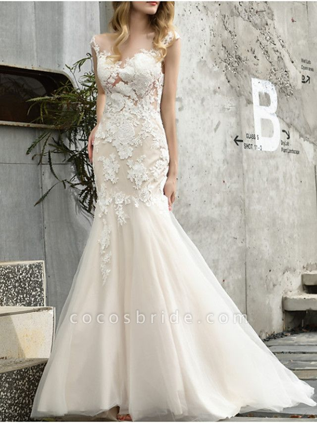 Mermaid \ Trumpet Wedding Dresses V Neck Sweep \ Brush Train Lace Tulle Sleeveless Formal Illusion Detail