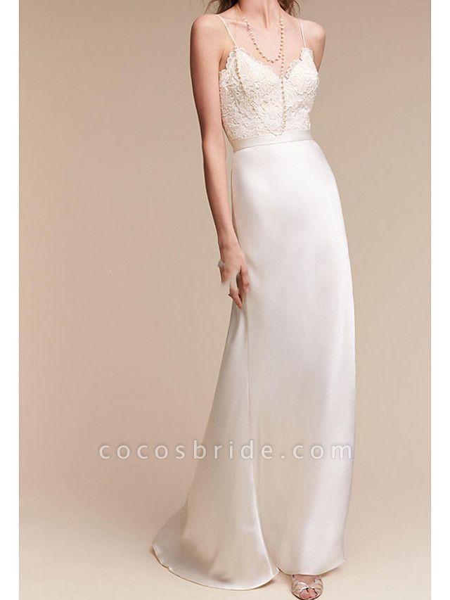 Sheath \ Column Wedding Dresses V Neck Sweep \ Brush Train Satin Cap Sleeve Formal Plus Size