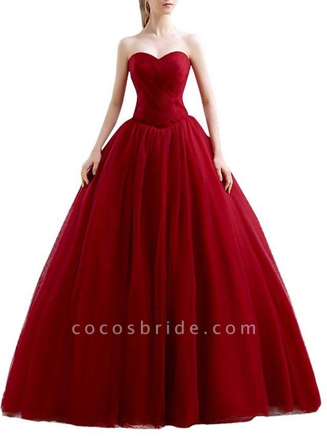Ball Gown Wedding Dresses Sweetheart Neckline Floor Length Polyester Sleeveless Romantic Plus Size Red