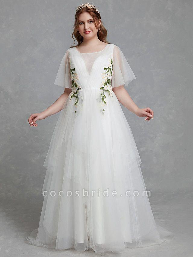 A-Line Wedding Dresses Jewel Neck Sweep \ Brush Train Tulle Short Sleeve Casual Boho Plus Size