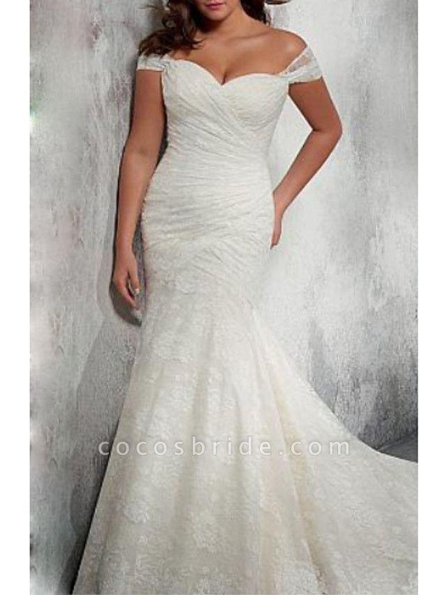 Mermaid \ Trumpet Wedding Dresses Off Shoulder Court Train Chiffon Lace Cap Sleeve