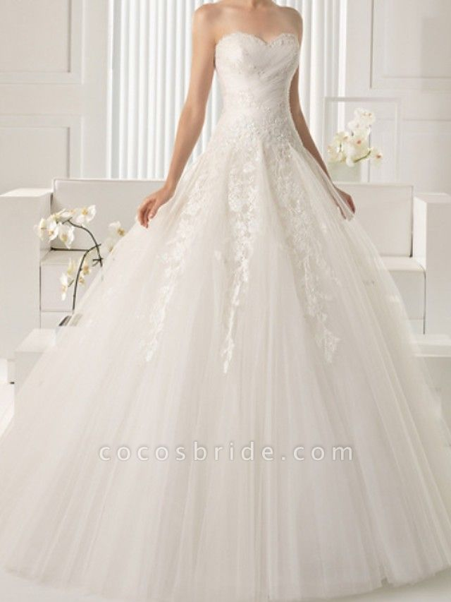A-Line Wedding Dresses Strapless Sweep \ Brush Train Lace Sleeveless Beach