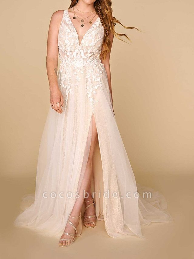 A-Line Plunging Neck Court Train Lace Sleeveless Country Plus Size Wedding Dresses