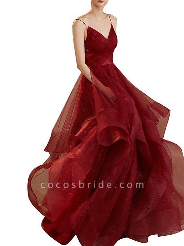 A-Line Wedding Dresses V Neck Floor Length Tulle Sleeveless Romantic Plus Size Red