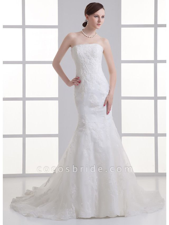 Mermaid \ Trumpet Strapless Chapel Train Satin Strapless Wedding Dresses