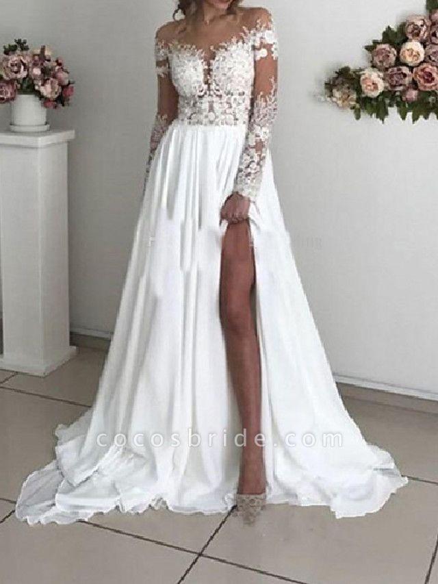A-Line Wedding Dresses Off Shoulder Sweep \ Brush Train Chiffon Taffeta Stretch Satin Long Sleeve Country Sexy Plus Size