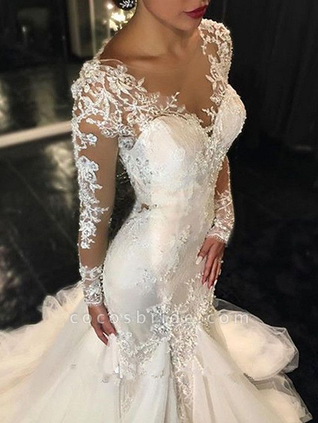 Mermaid \ Trumpet V Neck Sweep \ Brush Train Tulle Long Sleeve Sexy See-Through Backless Illusion Sleeve Wedding Dresses