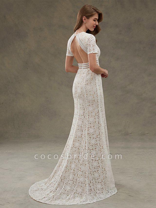 Sheath \ Column Wedding Dresses Jewel Neck Floor Length Sheer Lace Short Sleeve Open Back See-Through