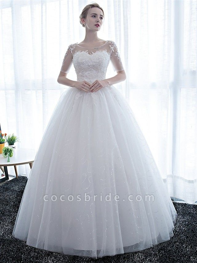 Ball Gown Wedding Dresses Scoop Neck Floor Length Satin Lace Over Tulle Half Sleeve Simple Backless