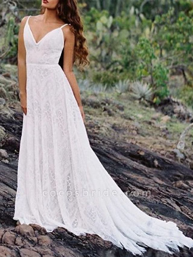A-Line Wedding Dresses Spaghetti Strap Sweep \ Brush Train Lace Sleeveless Beach Vintage Sexy Wedding Dress in Color Backless