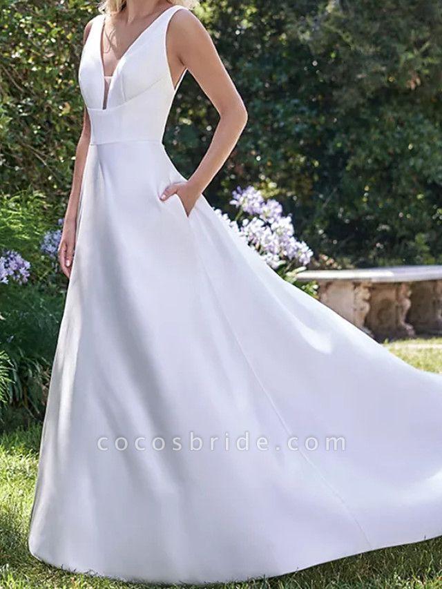 A-Line Wedding Dresses V Neck Court Train Satin Sleeveless Formal Vintage