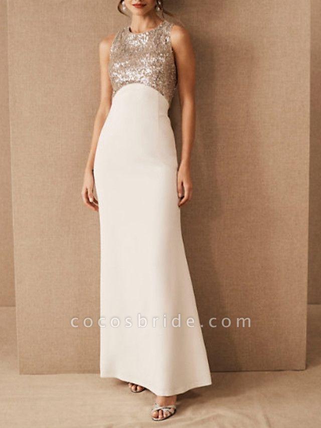 Sheath \ Column Wedding Dresses Jewel Neck Floor Length Satin Sequined Regular Straps Romantic Plus Size