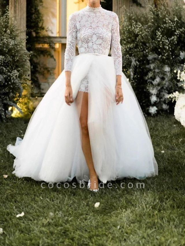 Jumpsuits Ball Gown Wedding Dresses High Neck Floor Length Lace Tulle 3\4 Length Sleeve Sexy See-Through