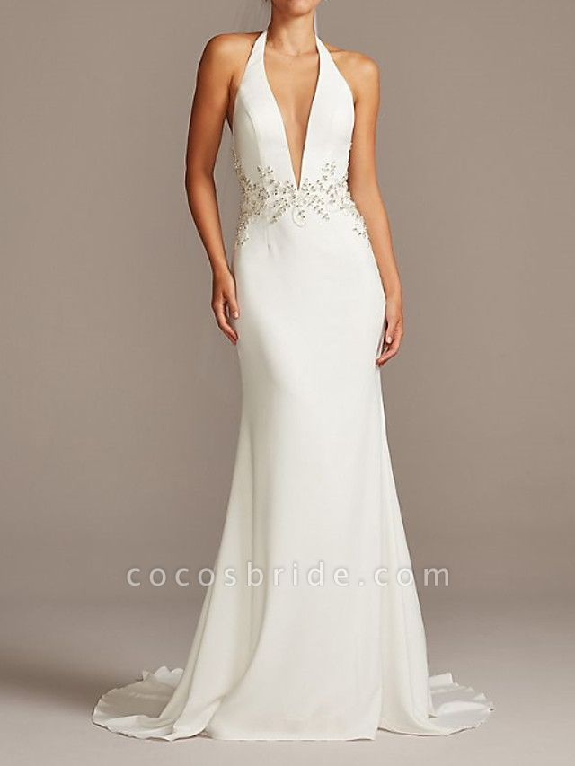 Mermaid \ Trumpet Wedding Dresses Halter Neck Plunging Neck Sweep \ Brush Train Polyester Sleeveless Country Plus Size