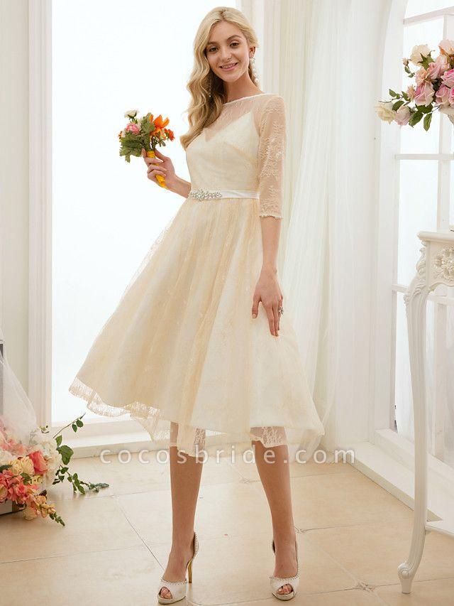 A-Line Wedding Dresses Bateau Neck Knee Length Lace Charmeuse 3\4 Length Sleeve See-Through
