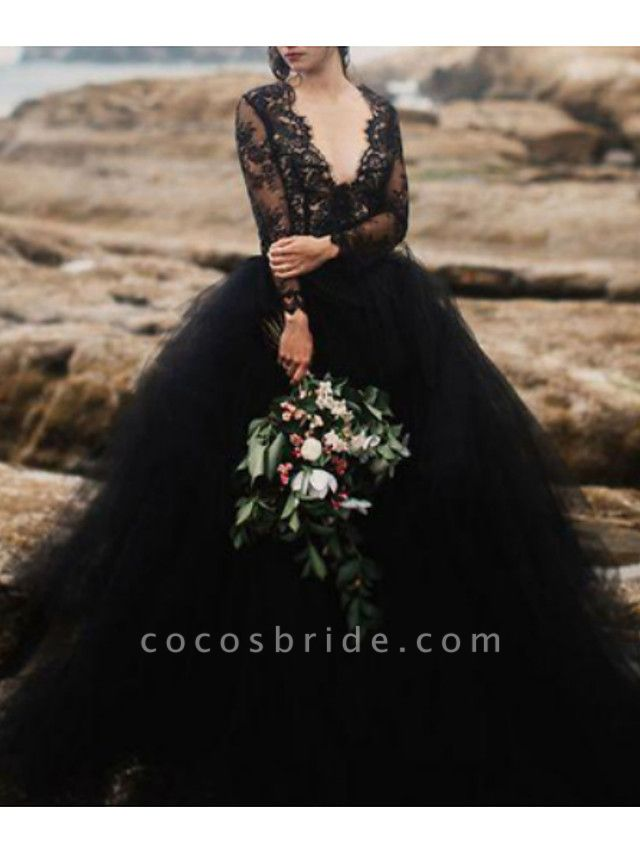 Ball Gown Wedding Dresses V Neck Sweep \ Brush Train Polyester Long Sleeve Beach Plus Size Black Modern