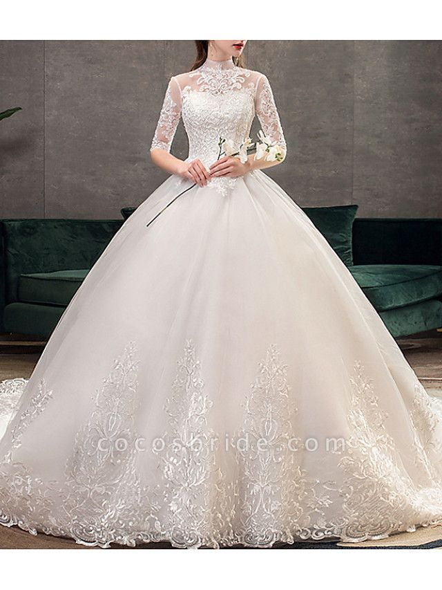 A-Line Wedding Dresses Jewel Neck Sweep \ Brush Train Lace Half Sleeve Casual Plus Size Illusion Sleeve