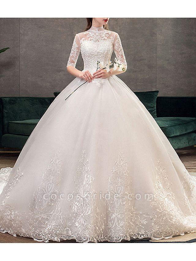 A-Line Wedding Dresses Jewel Neck Sweep \ Brush Train Lace Half Sleeve Casual Plus Size Illusion Sleeve