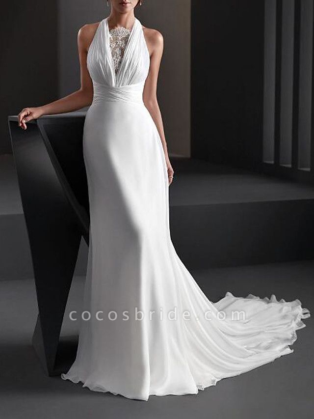 A-Line Wedding Dresses Halter Neck Sweep \ Brush Train Chiffon Sleeveless Country Plus Size