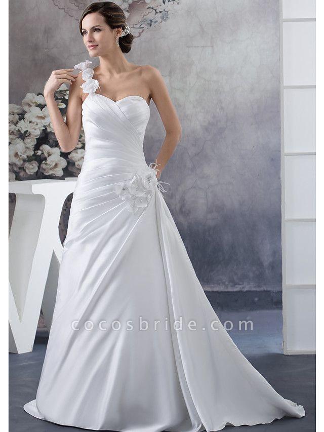 A-Line Wedding Dresses One Shoulder Court Train Satin Spaghetti Strap