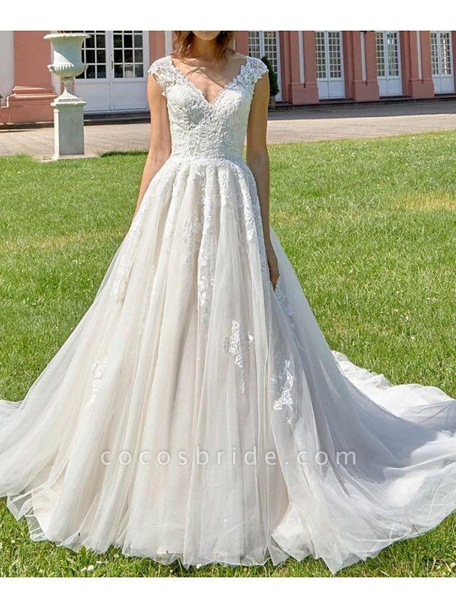 A-Line V Neck Court Train Lace Tulle Polyester Regular Straps Formal Plus Size Wedding Dresses