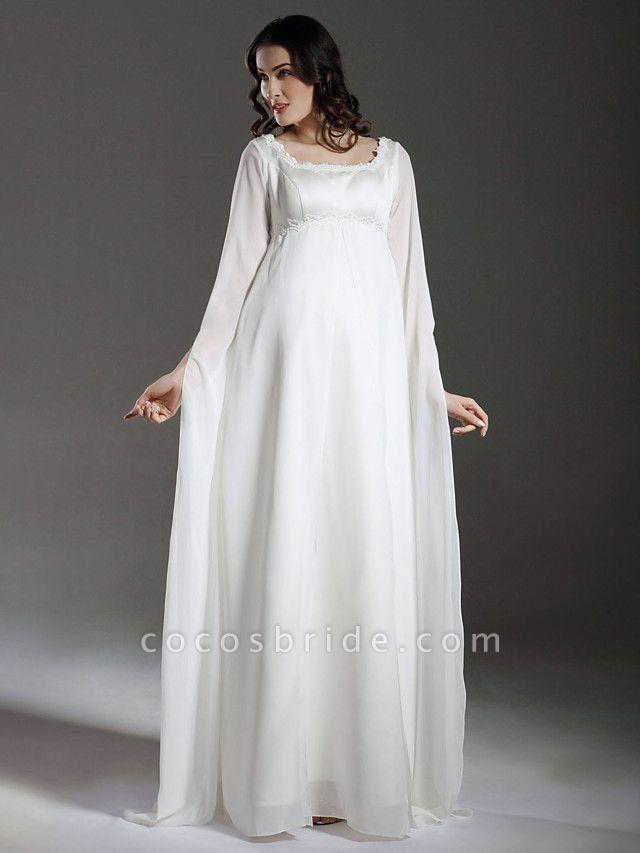 Sheath \ Column Wedding Dresses Square Neck Floor Length Chiffon Satin Long Sleeve See-Through