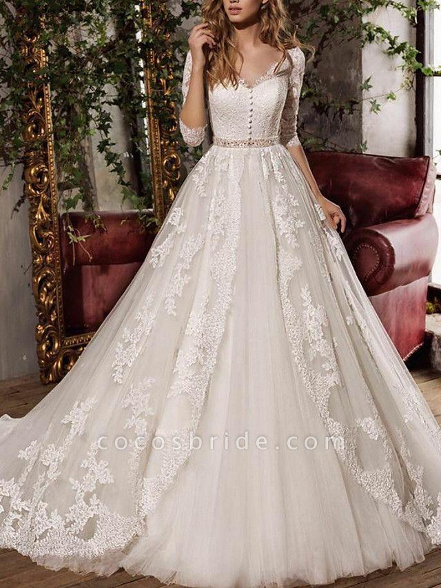 A-Line Wedding Dresses V Neck Sweep \ Brush Train Tulle 3\4 Length Sleeve Formal Plus Size Illusion Sleeve