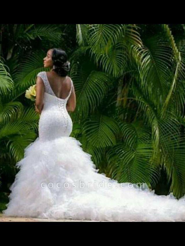 Mermaid \ Trumpet V Neck Court Train Tulle Regular Straps Country Backless Wedding Dresses